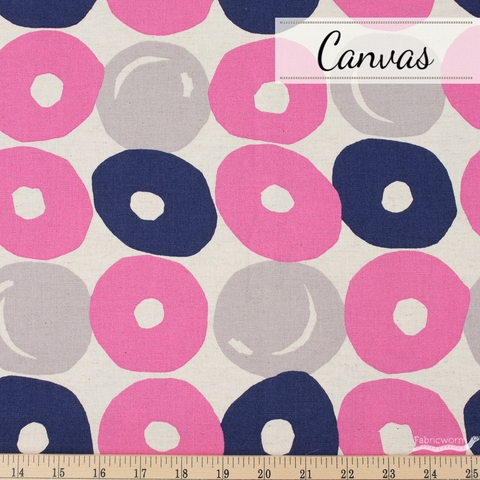 Japanese Import, Lightweight Canvas, Punch Dot Pink