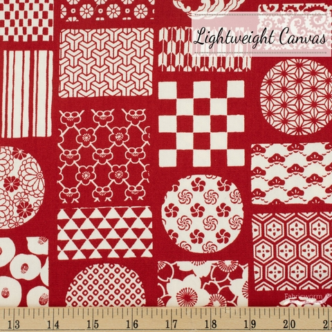 Japanese Import, Lightweight Canvas, Stamped Prints Red