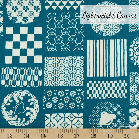 Japanese Import, Lightweight Canvas, Stamped Prints Teal