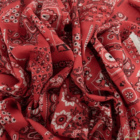 Japanese Import, Lightweight Lawn, Handkerchief Red