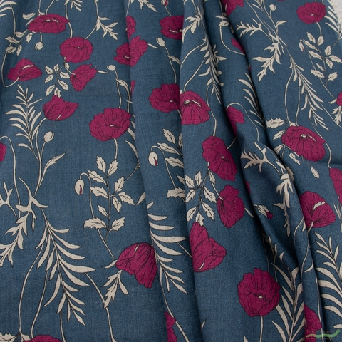 Japanese Import, Lightweight Linen, Beautiful Poppies Ocean Plum