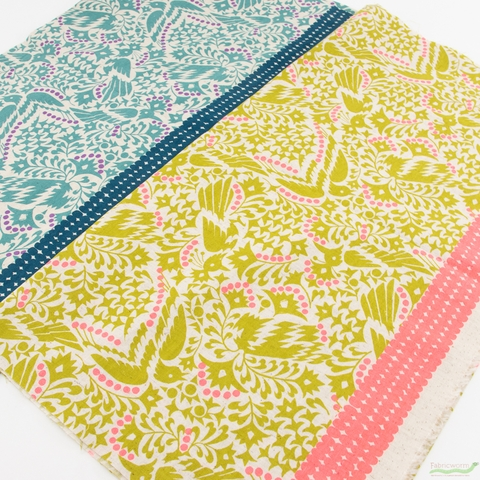 Japanese Import, Lightweight Linen, Floral Feathers Chartreuse Neon