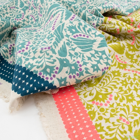 Japanese Import, Lightweight Linen, Floral Feathers Teal