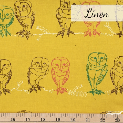 Japanese Import, Lightweight Linen, Owlet Mustard Fat Quarter