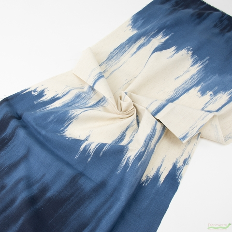 Japanese Import, Lightweight Linen, Paint Denim Double Border Print