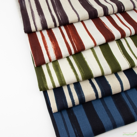 Japanese Import, Lightweight Linen, Paint Stripe in HALF YARDS 5 Total