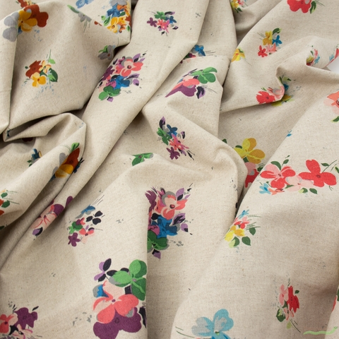 Japanese Import, Lightweight Linen, Pansies Fall