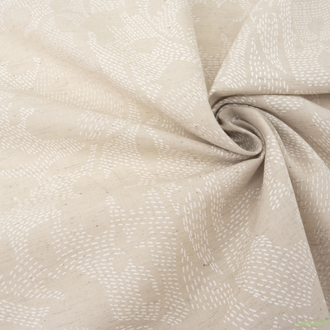 Japanese Import, Lightweight Linen, Stitched Floral Natural