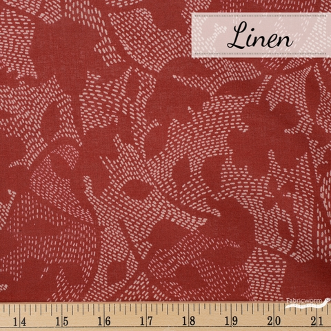 Japanese Import, Lightweight Linen, Stitched Floral Red