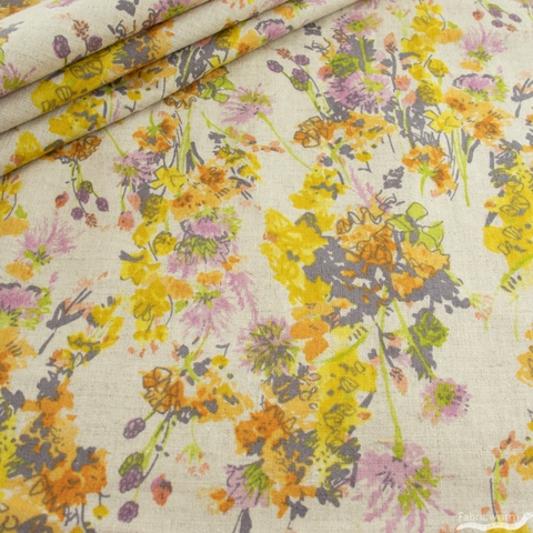 Japanese Import, Linen Blend, Fond of Floral Yellow