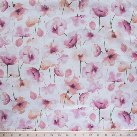 Japanese Import, Linen Blend, Perfect Poppies Natural Blush