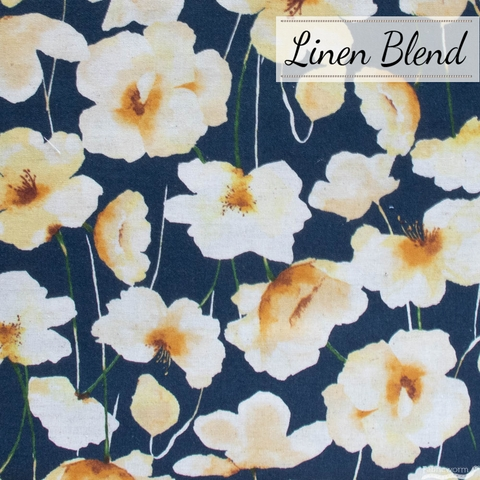 Japanese Import, Linen Blend, Perfect Poppies Navy Wheat