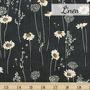 Japanese Import, Linen, Darling Daisies Charcoal