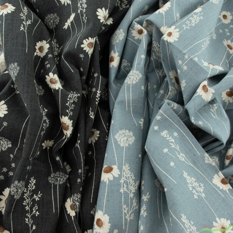 Japanese Import, Linen, Darling Daisies Faded Denim