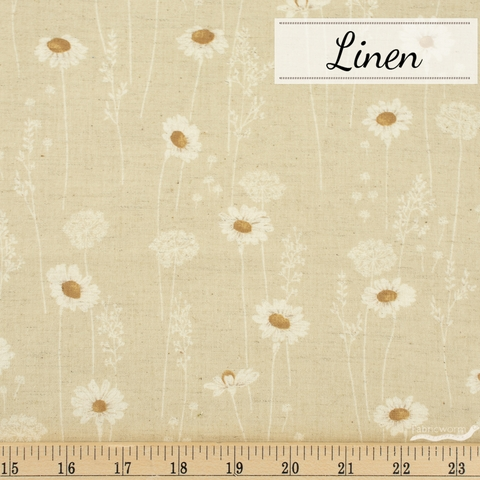 Japanese Import, Linen, Darling Daisy Oatmeal