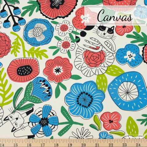 Japanese Import, Midweight Canvas, Feline Floral Cream