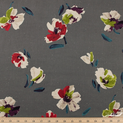 Japanese Import, Painted Blooms Charcoal
