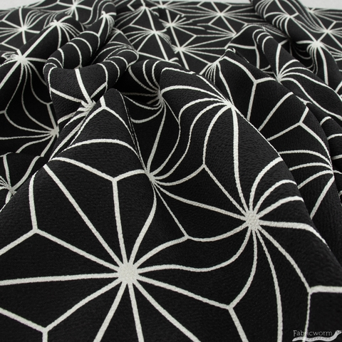 Japanese Import, Poly Crinkle, Star Lines Black