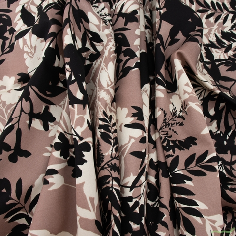 Japanese Import, Rayon Satin, Fine Vines Dusty Mauve
