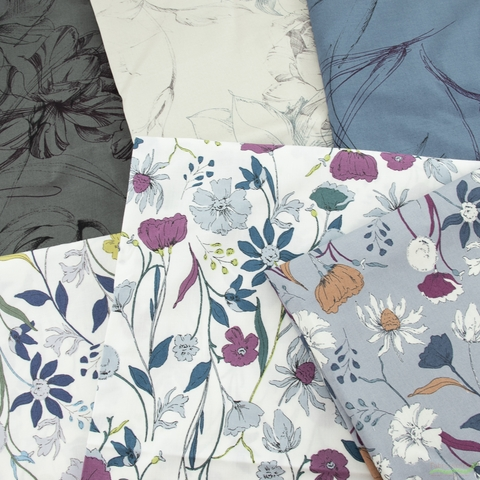 Japanese Import, Sateen, Floral Strokes Cadet