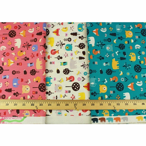 Japanese Import, SHEETING, Cute Critters Coral