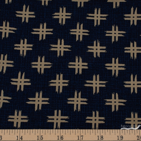 Japanese Import, Traditional Prints Sheeting, Number Sign Indigo
