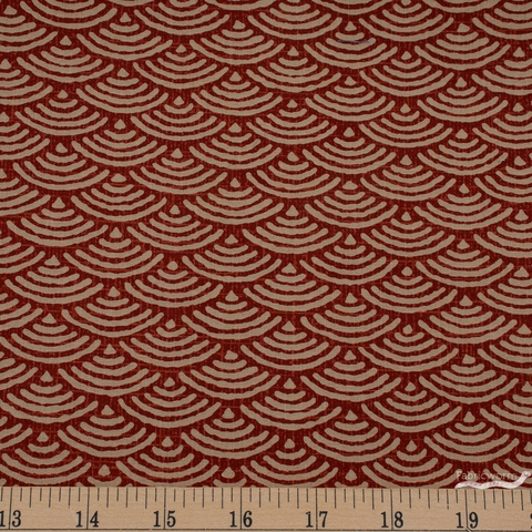 Japanese Import, Traditional Prints Sheeting, Waves Red
