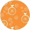Jay-Cyn Designs for Birch Fabrics, Mod Basics, Organic, Birdie Spokes Orange