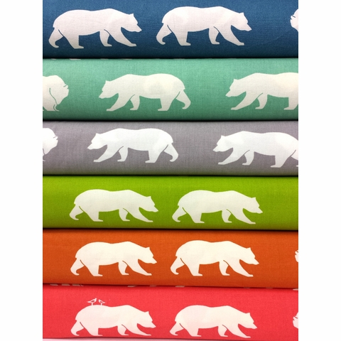 Jay-Cyn Designs for Birch Organic Fabrics, Bear Camp, Bear Hike Sampler 5 Total