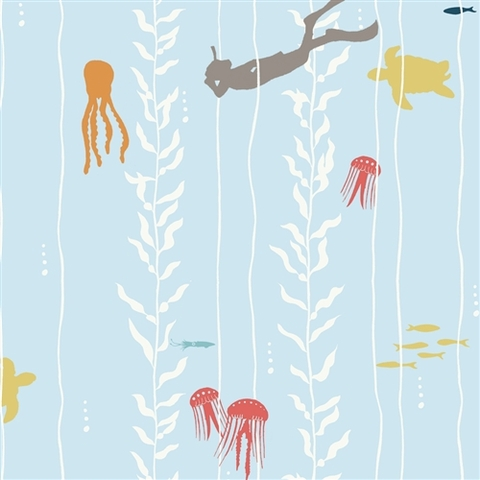 Jay-Cyn Designs for Birch Organic Fabrics, Beyond the Sea, Kelp Dive