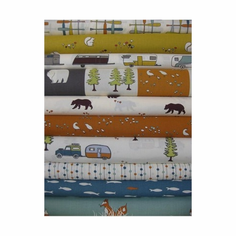Jay-Cyn Designs for Birch Organic Fabrics, Camp Sur, Blue School