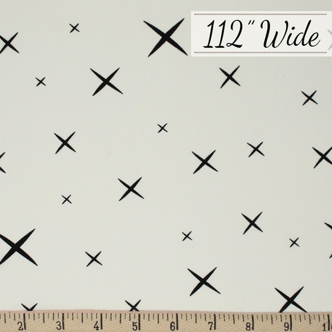 Jay-Cyn Designs for Birch Organic Fabrics, Hoshi, WIDE POPLIN, Cream Black