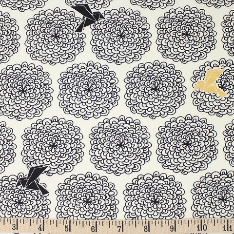 Jay-Cyn Designs for Birch Organic Fabrics, Inkwell, Birds and Blossoms Black/Metallic