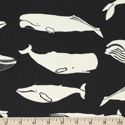 Jay-Cyn Designs for Birch Organic Fabrics, Inkwell, CANVAS, Whale Pod Black