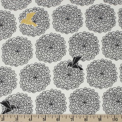 Jay-Cyn Designs for Birch Organic Fabrics, Inkwell, DOUBLE GAUZE, Birds and Blossoms Black/Metallic