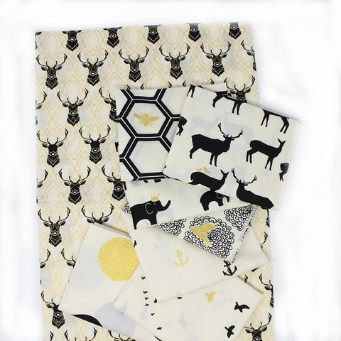 Jay-Cyn Designs for Birch Organic Fabrics, Inkwell, Elk Diamonds Black/Metallic