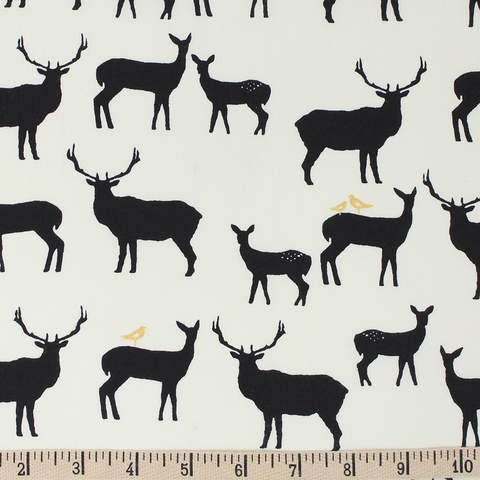 Jay-Cyn Designs for Birch Organic Fabrics, Inkwell, Elk Fam Black/Metallic