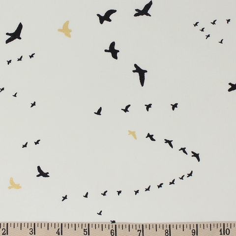 Jay-Cyn Designs for Birch Organic Fabrics, Inkwell, KNIT, Flight Black/Metallic