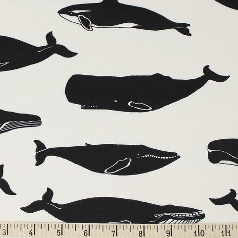 Jay-Cyn Designs for Birch Organic Fabrics, Inkwell, KNIT, Whale Pod Cream