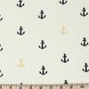 Jay-Cyn Designs for Birch Organic Fabrics, Inkwell, Little Anchor Metallic