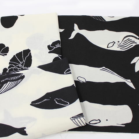 Jay-Cyn Designs for Birch Organic Fabrics, Inkwell, Whale Pod Black