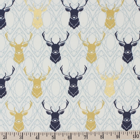 Jay-Cyn Designs for Birch Organic Fabrics, Mod Nouveau, Elk Diamond Metallic