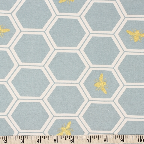Jay-Cyn Designs for Birch Organic Fabrics, Mod Nouveau, KNIT, Honeycomb Mint Metallic