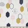 Jay-Cyn Designs for Birch Organic Fabrics, Mod Nouveau, KNIT, Oblong Hex Blush Metallic