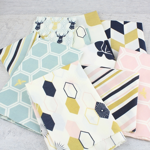 Jay-Cyn Designs for Birch Organic Fabrics, Mod Nouveau, Oblong Hex Blush Metallic
