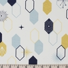Jay-Cyn Designs for Birch Organic Fabrics, Mod Nouveau, Oblong Hex Mint Metallic