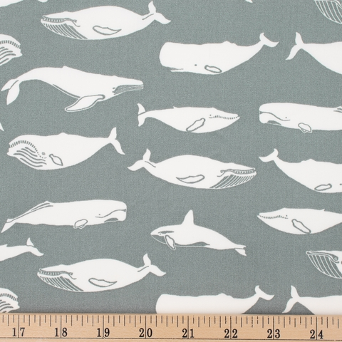 Jay-Cyn Designs for Birch Organic Fabrics, Tonoshi, Kujira Grey Fat Quarter