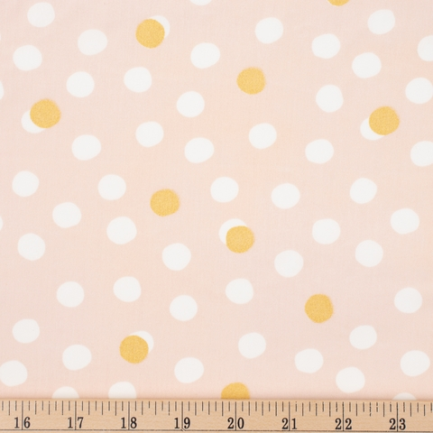 Jay-Cyn Designs for Birch Organic Fabrics, Tonoshi, Mochi Dot Shell Metallic Gold Fat Quarter