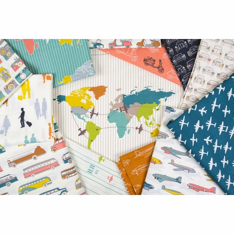 Jay-Cyn Designs for Birch Organic Fabrics, Trans-Pacific, Planes Multi