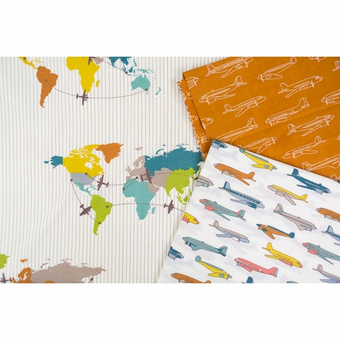 Jay-Cyn Designs for Birch Organic Fabrics, Trans-Pacific, Planes Orange